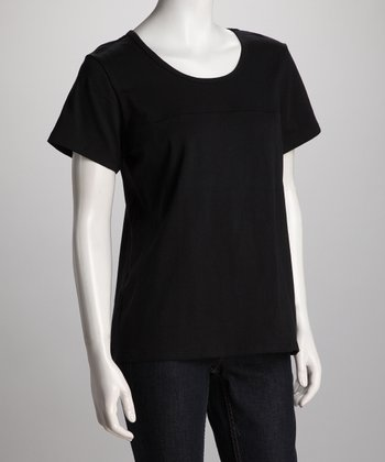 Black Side-Split Nursing Tee - Women