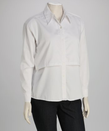 Breast is Best White Button-Up Nursing Top