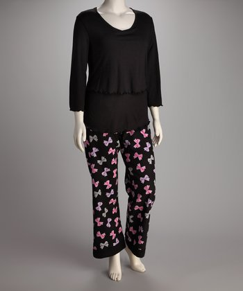 Breast is Best Black Bows Flannel Nursing Pajamas