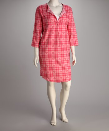 Breast is Best Pink Plaid Heart Flannel Nursing Nightgown