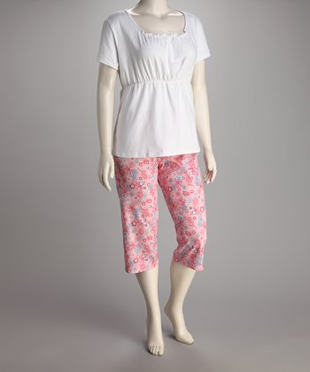 Breast is Best White & Pink Floral Nursing Pajama Set