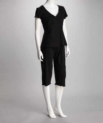 Black Sleek & Styling Nursing Capri Pajamas
