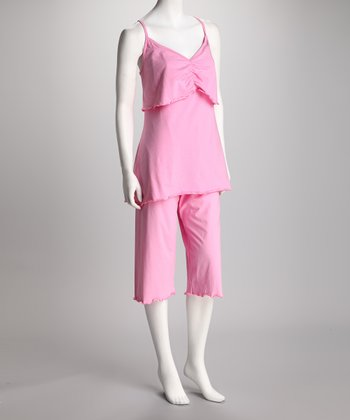 Breast is Best Pink Day Dreamer Nursing Capri Pajama Set