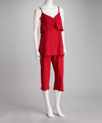 Red Day Dreamer Maternity & Nursing Capri Pajama Set