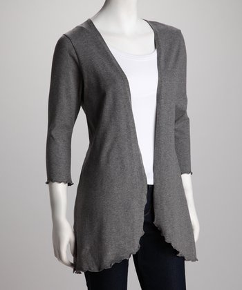 Breast is Best Charcoal Gray Nursing Open Cardigan - Women