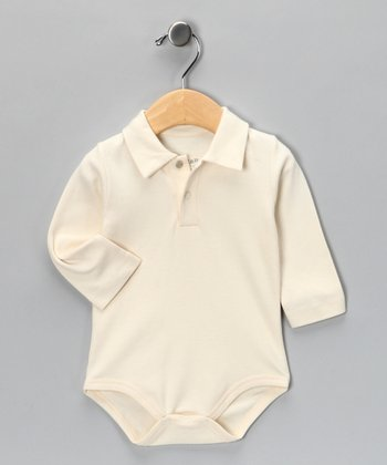 Natural Vintage Polo Bodysuit - Infant