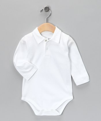 White Vintage Polo Bodysuit - Infant