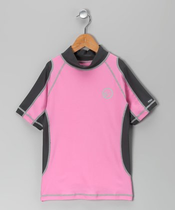 Pink & Dark Gray Santa Barbara Rashguard - Girls