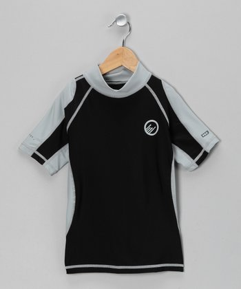 Black & Light Gray Santa Barbara Rashguard - Boys