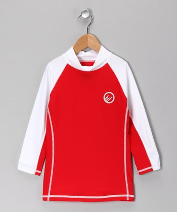 Red & White Myrtle Beach Rashguard - Boys
