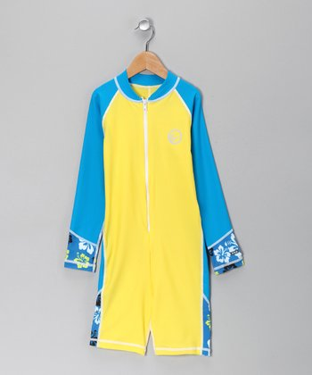 Yellow & Blue La Jolla One-Piece Rashguard - Boys