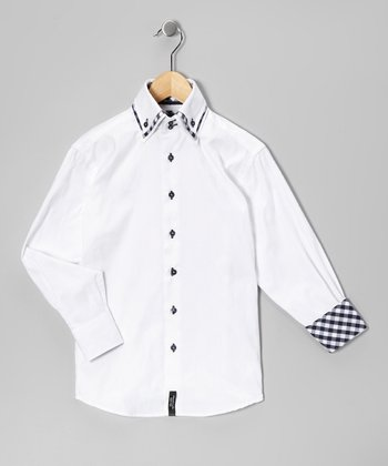 White & Black Diamond Button-Up - Boys