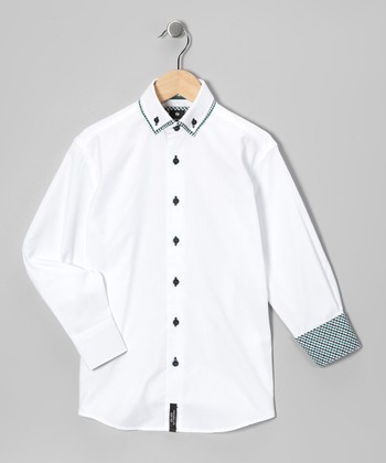 White & Green Classic Button-Up - Boys