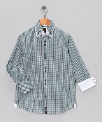 Navy & Green Plaid Double Collar Button-Up - Boys