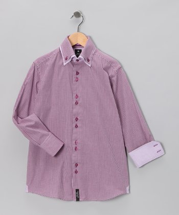 Pink Gingham Double Collar Button-Up - Boys