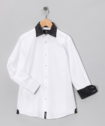 White & Black Double Collar Button-Up - Boys