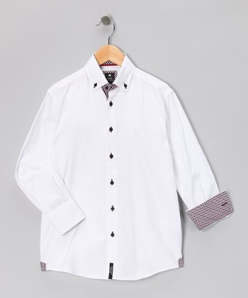 White Check Contrast Button-Up - Boys