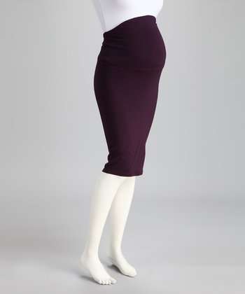 Brody & Cole Plum Slimline Over-Belly Maternity Pencil Skirt