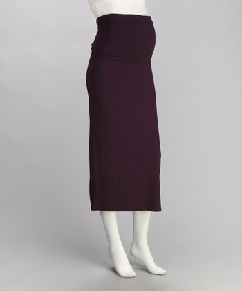 Brody & Cole Plum Slimline Over-Belly Maternity Maxi Skirt
