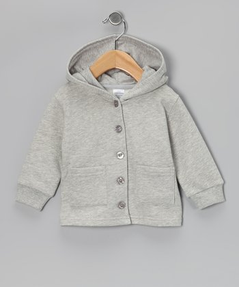 Gray Organic Wool Button-Up Hoodie - Infant, Toddler & Kids