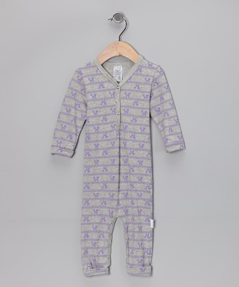 Gray & Lavender Foxy Organic Playsuit - Infant