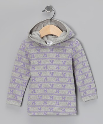 Gray & Lavender Foxy Organic Hoodie - Infant & Toddler