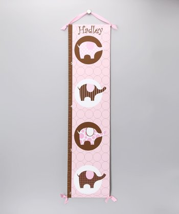 Pink & Brown Elephant Personalized Growth Chart