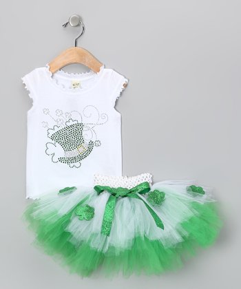 Green & White Sparkle Top & Tutu - Infant, Toddler & Girls