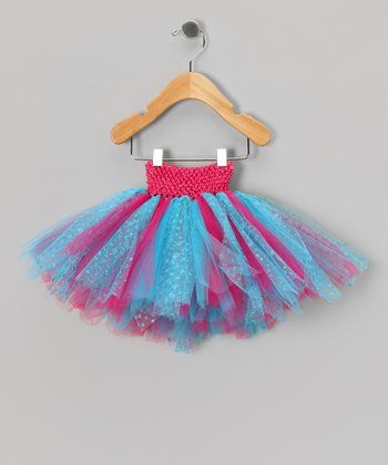 White & Turquoise Glitter Tutu - Infant, Toddler & Girls