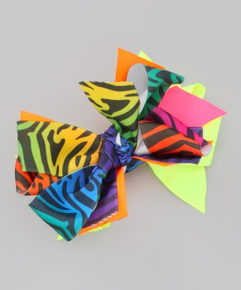 Neon Orange & Yellow Zebra Bow Clip
