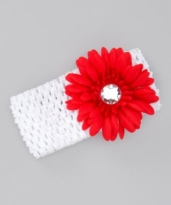 White & Red Flower Headband
