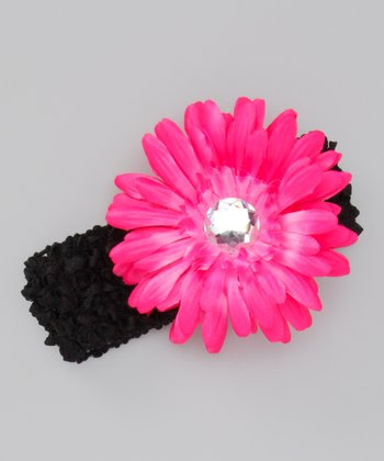 Black & Pink Flower Headband
