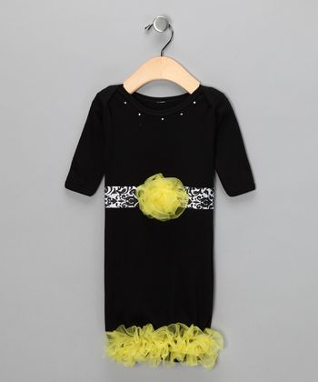 Black Damask Flower Gown - Infant