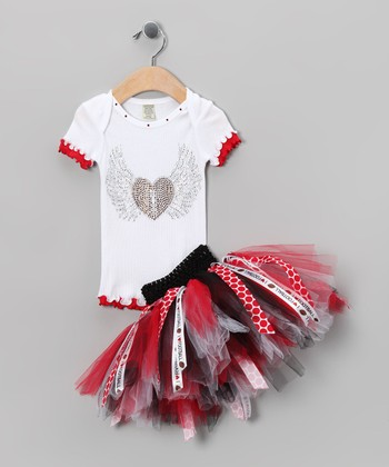 Brookie Jos Red & Black Football Tee & Tutu - Infant & Girls