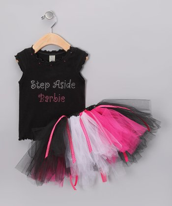 Black 'Step Aside Barbie' Tank & Tutu - Infant, Toddler & Girls