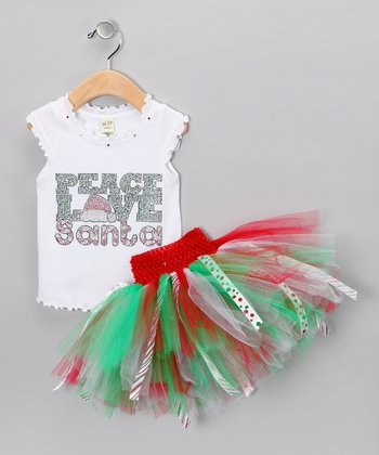 Red 'Peace' Tank & Tutu - Infant, Toddler & Girls