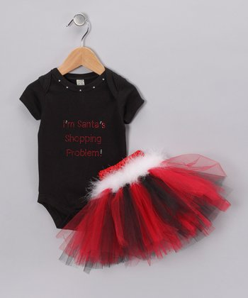 Red 'Santa's Shopping' Bodysuit & Tutu - Infant, Toddler & Girls