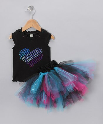 Black & Blue Sequin Heart Tank & Tutu - Infant, Toddler & Girls