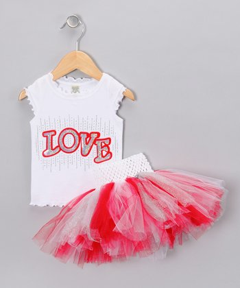 Red & White 'Love' Tank & Tutu - Infant, Toddler & Girls