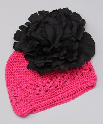 Pink & Black Crochet Flower Beanie