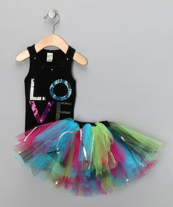 Black Sequin 'Love' Tank & Tutu - Infant, Toddler & Girls