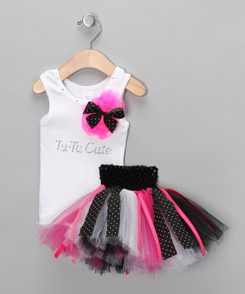 White 'Tu-tu Cute' Tank & Tutu - Infant, Toddler & Girls