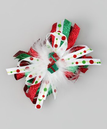Red & Green Present Fluff Bow Clip