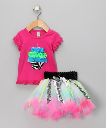 Pink & Blue Zebra Cupcake Tee & Tutu - Infant, Toddler & Girls