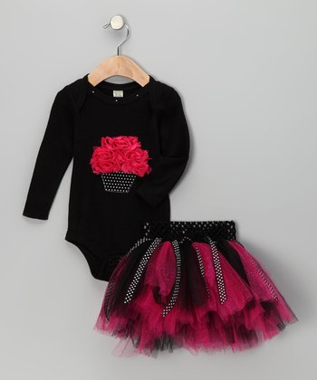 Pink & Black Cupcake Bodysuit & Tutu - Infant, Toddler & Girls