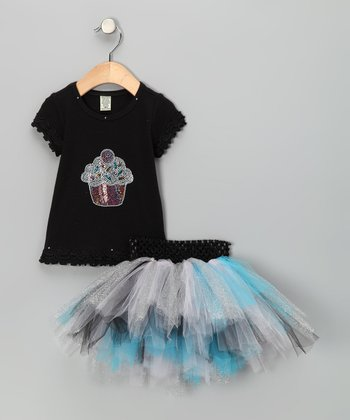 Blue & Pink Sequin Cupcake Tee & Tutu - Infant, Toddler & Girls