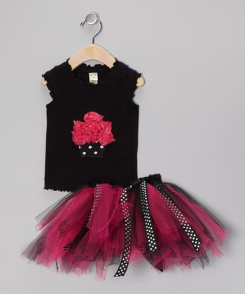 Pink Polka Dot Cupcake Top & Tutu - Infant, Toddler & Girls