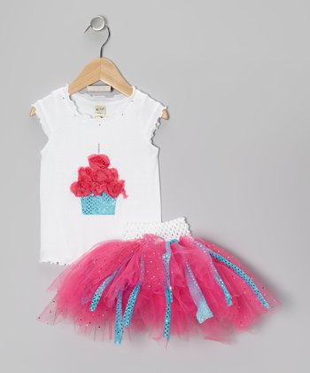 Pink Sequin Cupcake Tee & Tutu - Infant, Toddler & Girls