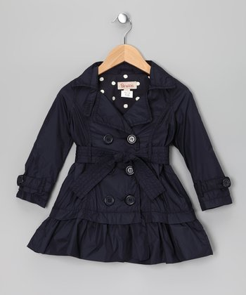 Navy Double-Breasted Ruffle Trench Coat - Toddler & Girls