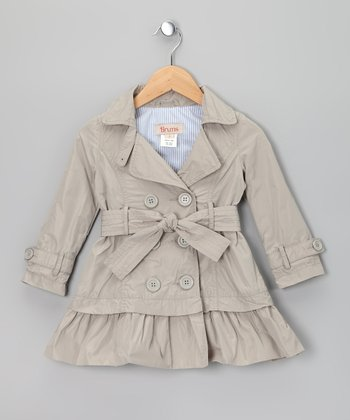 Khaki Double-Breasted Ruffle Trench Coat - Toddler & Girls